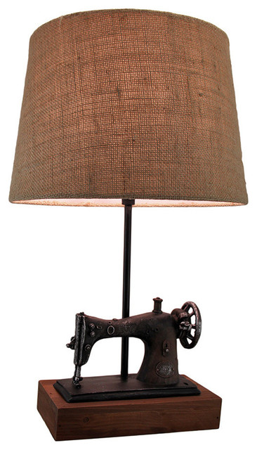 Vintage Sewing Machine Table Lamp Burlap Fabric Shade