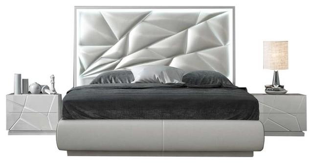 Kiu 3-Piece Modern Bedroom Set, White, Queen