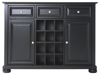 Alexandria Buffet Server / Sideboard Cabinet With Wine Storage, Black Finish