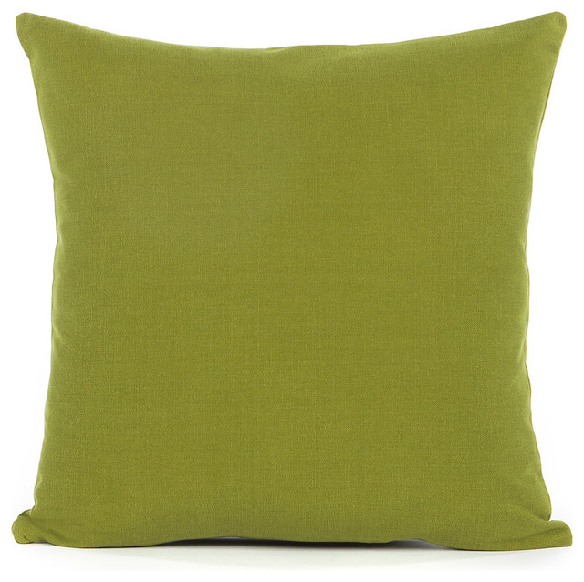 Solid Olive Green Accent, Throw Pillow Cover - Contemporary - Decorative Pillows - by Silver ...
