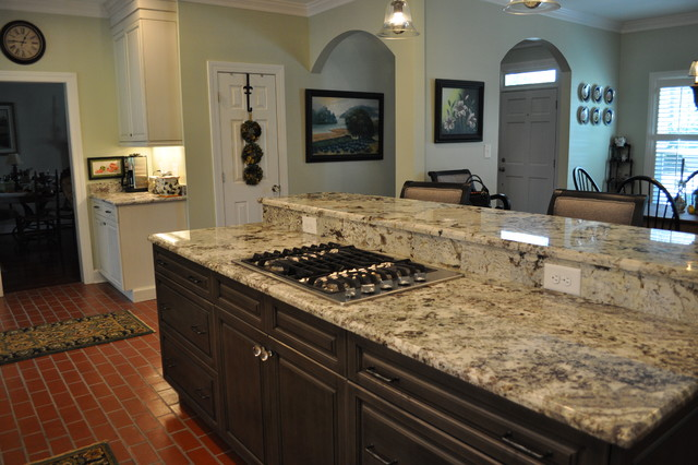 Brush Stroke Painted Kitchen With Red Brick Floor
