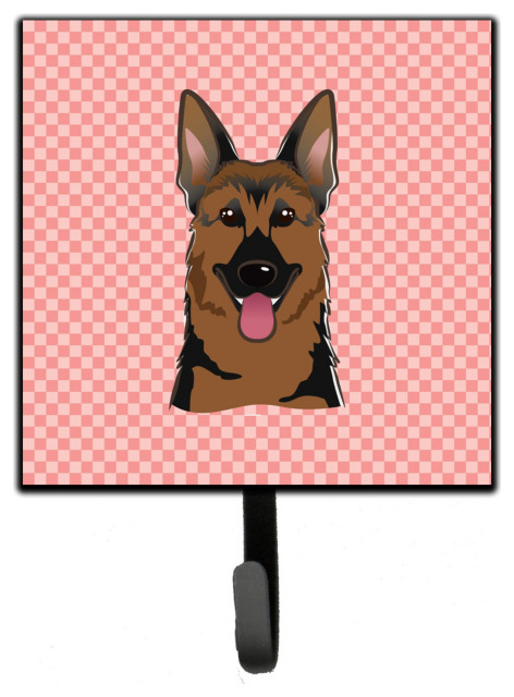 Bb1211sh4 Checkerboard Pink German Shepherd Leash Key Holder Small Contemporary Wall Hooks By Virventures