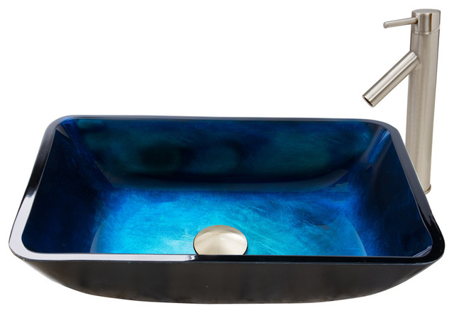 Vigo Turquoise Water Glass Vessel Sink And Dior Faucet Set, Brushed Nickel.