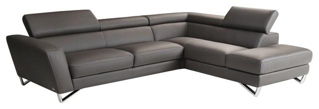 J&m Sparta Italian Leather Sectional Sofa, Gray.