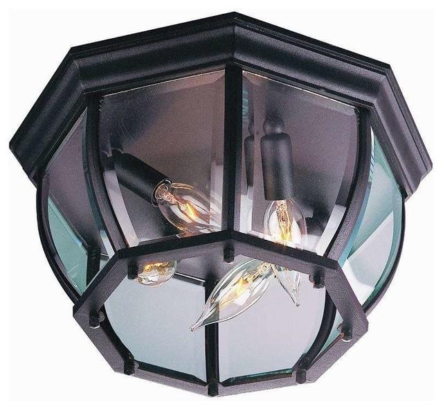 Craftmade Z434-05 Bent Glass Outdoor Ceiling Light, Matte Black.