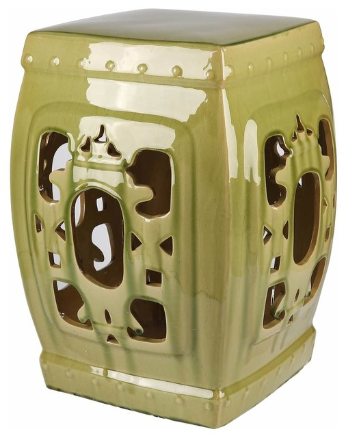Remarkable Abbyson Living Asian Ornate Glazed Ceramic Garden Stool Green Lamtechconsult Wood Chair Design Ideas Lamtechconsultcom