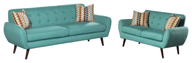 Irene Linen 2-Piece Sofa And Love Seat Set, Teal.
