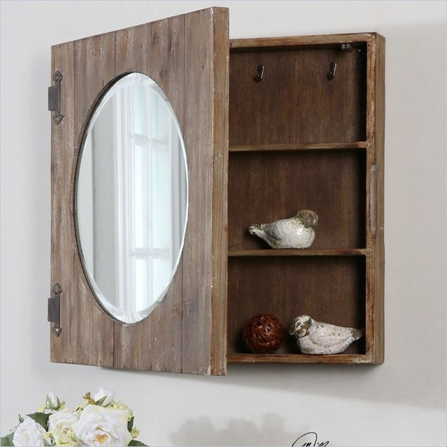 Uttermost Gualdo Aged Wood Mirror Cabinet - Farmhouse - Medicine Cabinets - Other - by Cymax