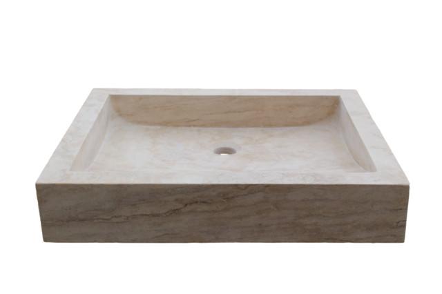 Rectangular Angled Flow Natural Stone Vessel Sink Light Travertine Traditional Bathroom Sinks