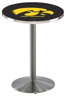 """Iowa Hawkeyes Cafe Table With Round Base, Brushed Stainless, 28""""x36"""""""