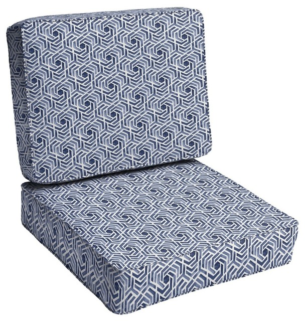 Pleasant Soren Navy White Geometric Outdoor Chair Cushion Corded Ibusinesslaw Wood Chair Design Ideas Ibusinesslaworg