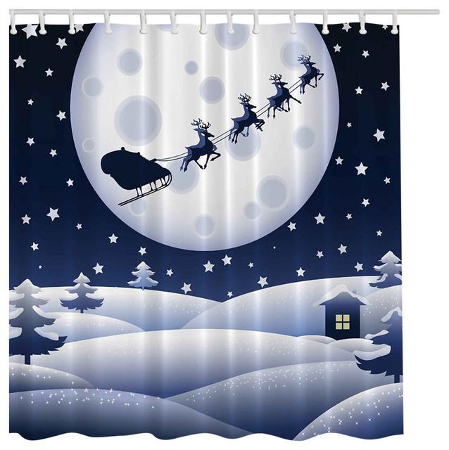Christmas Santa Sleigh Reindeer Fabric Shower Curtain Digital Art ...