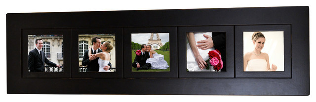 5 opening multi picture collage frame with five 5x5 photo openings black wood