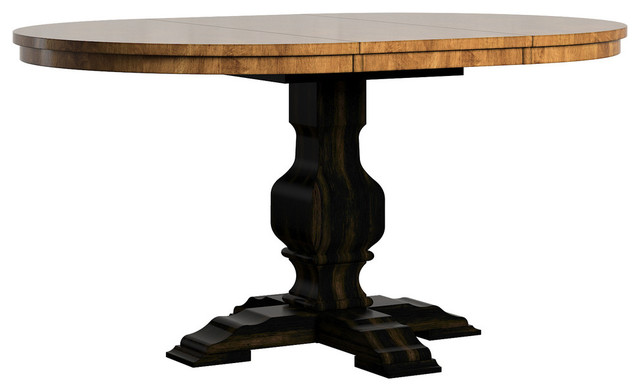 Arbor Hill Two-Tone Oval Pedestal Base Extendable Dining Table, Antique Black.