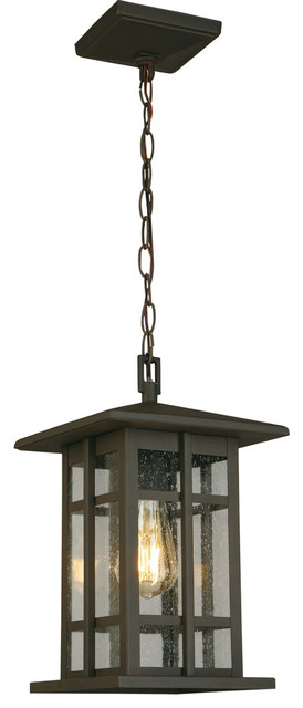 1x60W Outdoor Pendant w/ Matte Bronze Finish & Clear Seeded Glass by Eglo 202891