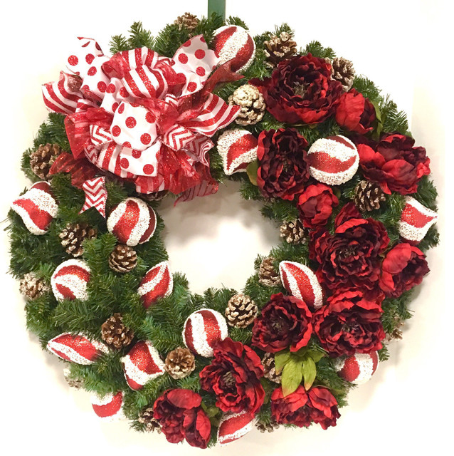 Christmas Wreath Red White Holiday Floral Peony Shatterproof In