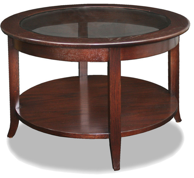 Shop Houzz Leick Leick Solid Wood Round Glass Top Coffee Table Chocolate Oak Coffee Tables