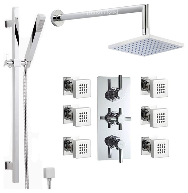 Chrome Thermostatic Shower System With Rain Head U0026 Extended Arm Handset 6  Jets