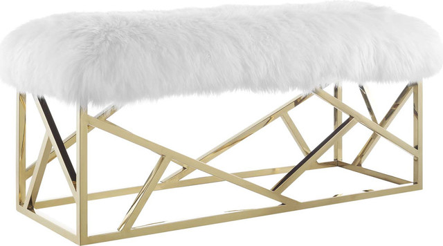 Gravesend Sheepskin Bench, Gold White.