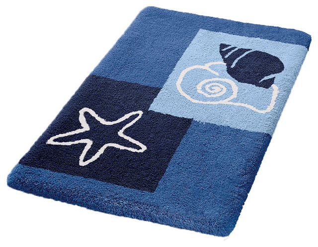 Vita Futura Navy Blue Non Slip Washable Bathroom Rug Select Bath Mats Houzz