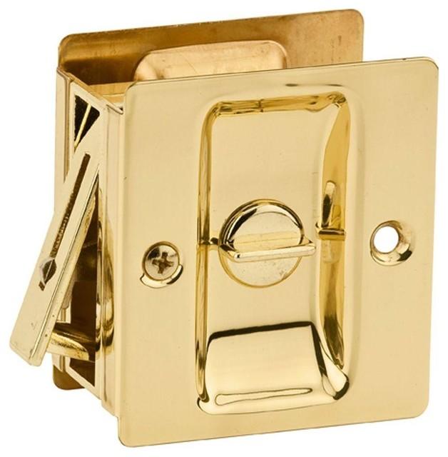 Kwikset Notch Polished Brass Bed Bath Pocket Door Lock Pocket Door Hardware Houzz