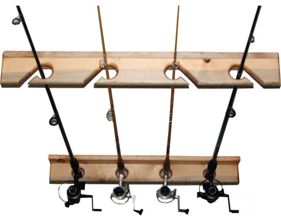 Vertical fishing rod storage rack garage and tool for Vertical fishing rod holders