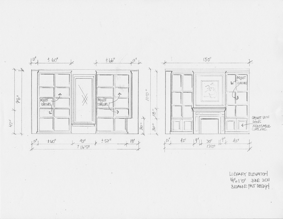residential space plans- farmhouse library elevations