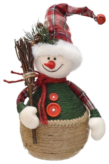 "14.5"" Green And Red Plaid Snowman With Broom Table Top Christmas Figure."