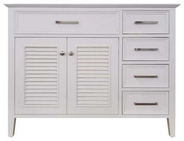 "Ariel Kensington 42"" Bath Vanity Cabinet Only, White, Left."