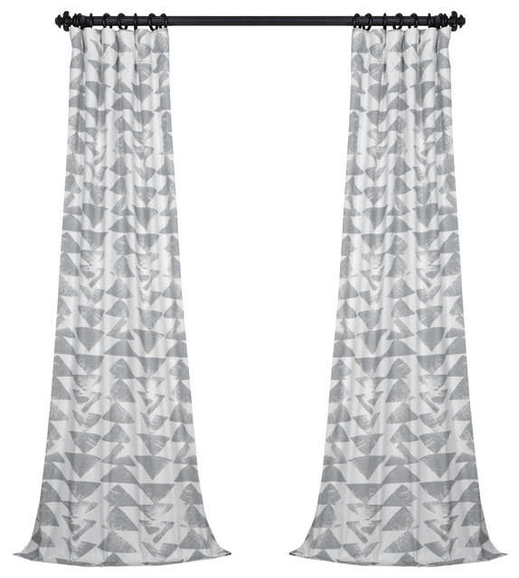 "Triad Smoke Printed Cotton Twill Curtain Single Panel, 50""x96""."