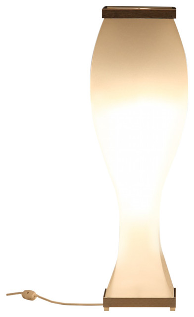 Trovato Curve Table Lamp Natural White With Black Caps 26