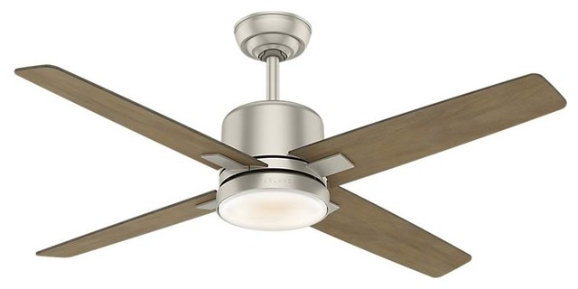 Casablanca Axial 52 Ceiling Fan With Light With Wall Control, Matte Nickel.