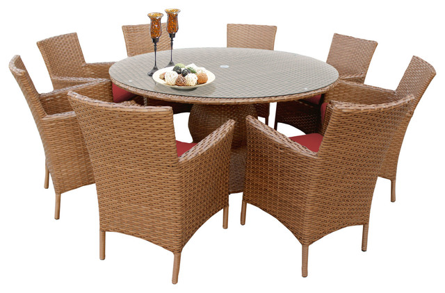 """Tuscan 60"""" Outdoor Dining Table With Chairs, 9-Piece Set"""