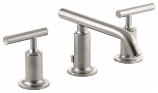 Delta Sawyer Spotshield Brushed Nickel 2 Handle Widespread: Kohler Purist Series 2 Handle, Widespread Bathroom Faucet