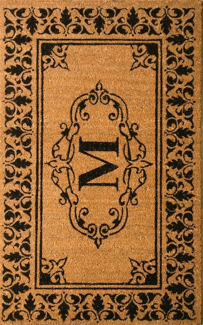 Natural Fibers Indoor/outdoor Monogrammed Welcome Door Mat Rug,  M, 3&x27;x6&x27;.