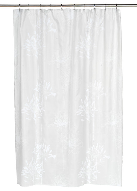 Cologne Fabric Shower Curtain With Poly Taffeta Flocking In White Spa Blue Contemporary