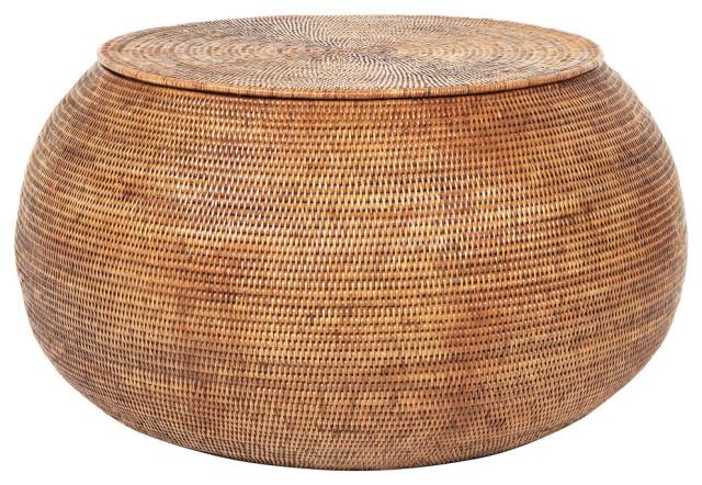 La Jolla Round Rattan Storage Coffee, Storage Ottoman Table Round