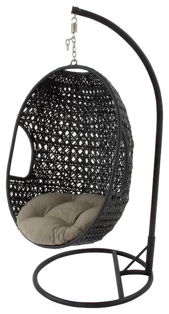 Rattan Patio Egg Swing Chair On Iron Stand, Black And Coffee Gray  Contemporary Hanging