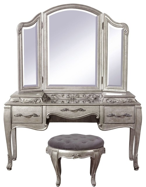 Pulaski Furniture Rhianna 3 Piece Vanity Set, Vanity, Mirror And Stool