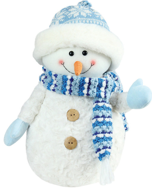 "Arctic Blue And White Snowman Wearing Knit Hat Christmas Decoration, 11.5""."