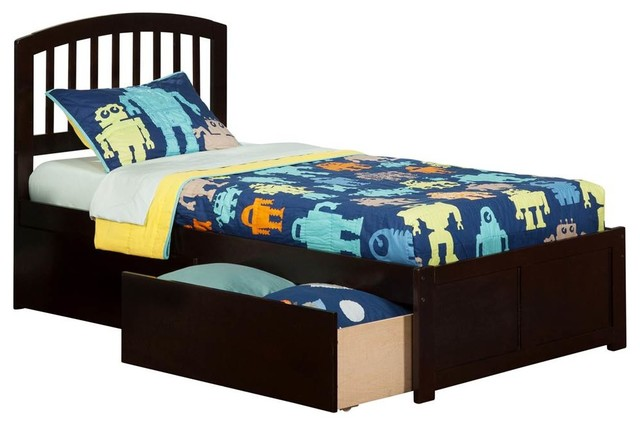 The Atlantic Furniture Flat Platform Twin Xl Bed With Footboard Espresso Kids Beds Houzz