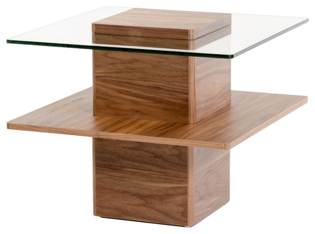 Clarion Modern Walnut And Glass End Table Contemporary Side Tables And End
