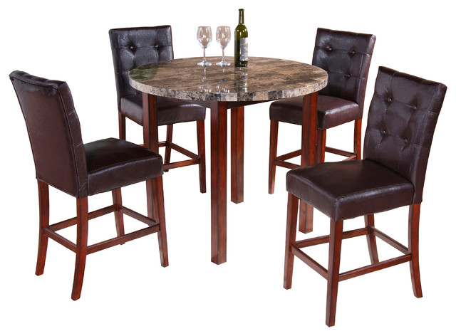 Faux Marble Round Dining Room Kitchen Pub Table & 4 Chairs
