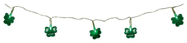 Battery Operated St. Patricks Day Irish Shamrock 20-Led Light Strand