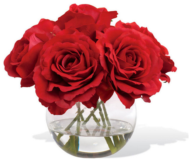 Artificial roses artificial flowers deco decoration balsacircle 4 petals rose nosegay silk flower arrangement red artificial flower mightylinksfo Gallery