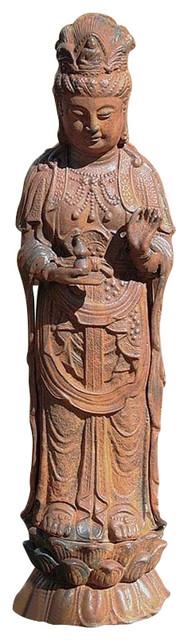 Goddess Guan Yin Iron Statue Asian Garden Statues And Yard Art