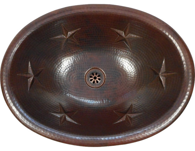 "19"" x 14"" Oval Texas Star Design Copper Sink Drop In or Vessel Daisy Drain Incl."