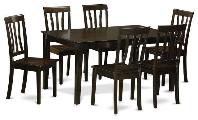 Caan7 cap kitchen table set transitional dining sets for Kitchen table set 7 piece