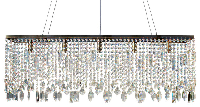 Rectangle Chandeliers: Sofia Glass Crystal Rectangular Chandelier, Antique Brass contemporary- chandeliers,Lighting