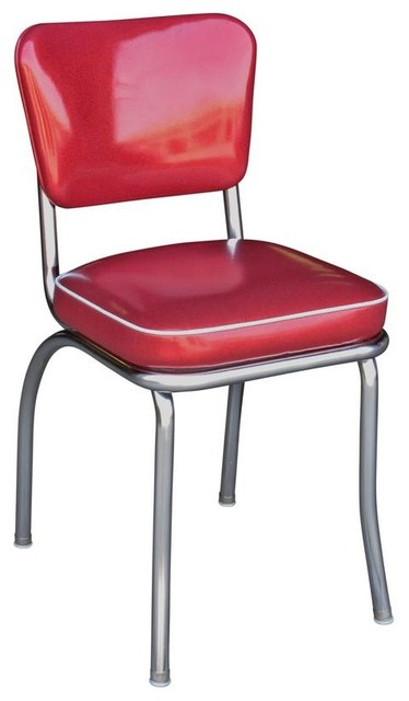 glitter sparkle red retro chrome kitchen chair - contemporary